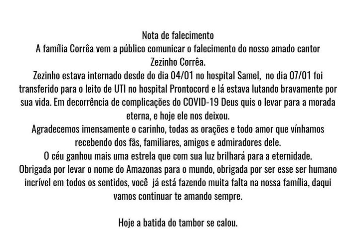 Zezinho Correa, da banda Carrapicho, morreu pela COVID-19